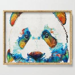 Colorful Panda Bear Art By Sharon Cummings Serving Tray