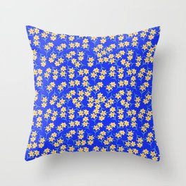 Yellow Lilies on Cornflower Blue Background Throw Pillow