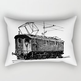 Old City Tram Carriage Detailed Illustration Rectangular Pillow