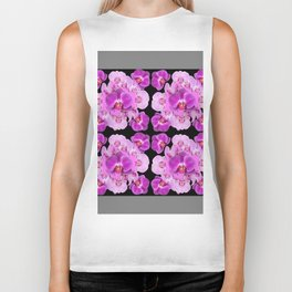 Black-Grey Color Abstracted Modern Purple Moth Orchids Biker Tank