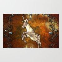 reindeer Area & Throw Rugs featuring Reindeer by nicky2342