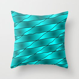 Slanting iridescent lines and rhombuses on light blue with intersection of glare. Throw Pillow