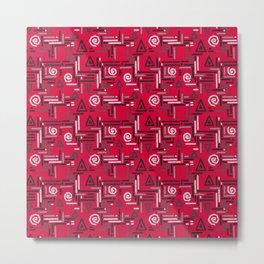 Geometric red gray pattern Metal Print