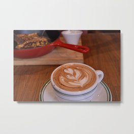 Caffe Macchiato with Breakfast - Cafe or Kitchen Decor Metal Print
