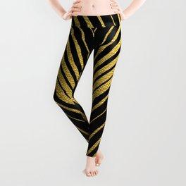 Golden leaves, gold glitter abstract waves illustration pattern Leggings