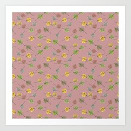 Colorado Aspen Tree Leaves Hand-painted Watercolors in Golden Autumn Shades on Copper Rose Art Print