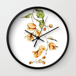 Orange Bougainvillea Illustration Wall Clock