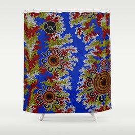 Authentic Aboriginal Art - Waterholes Corela Shower Curtain