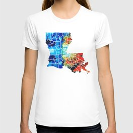 Louisiana Map - State Maps By Sharon Cummings T-shirt