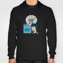 Female Internet Shopper Shopping Cart Hoody