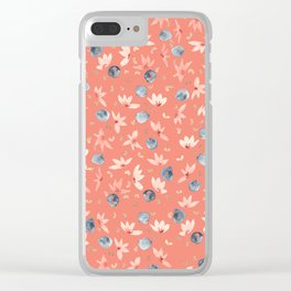Spring Floral - Coral Clear iPhone Case