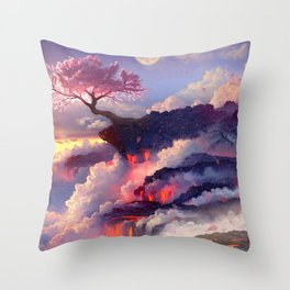 Sakura tree in clouds Throw Pillow