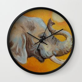 Good Luck Elephant Safari style landscape & elephant Animal portrait Yellow background Painting Wall Clock