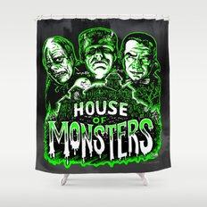 House of Monsters Phantom Frankenstein Dracula classic horror Shower Curtain