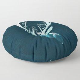 Deer Blue Winter Floor Pillow