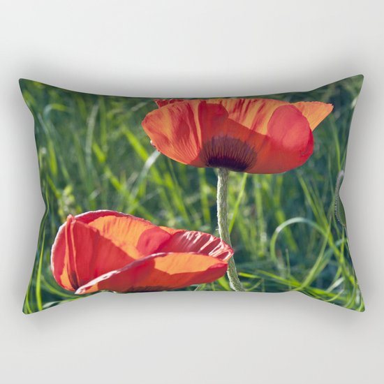 Red Poppies on the summer meadow Rectangular Pillow