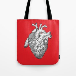 Anatomical Heart Ink Illustration Tote Bag