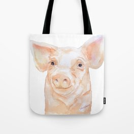 Pig Face Watercolor Farm Animal Tote Bag
