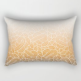 Ombre orange and white swirls doodles Rectangular Pillow