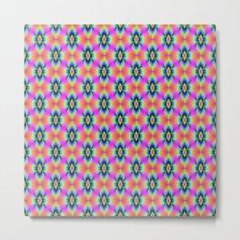 Flower in Neon tiled Metal Print