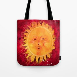 Digital painting of a chubby sun with a funny face Tote Bag