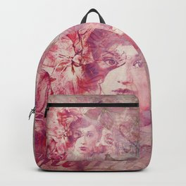 Lost Moments woman romantic illustration in shades of red Backpack