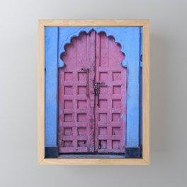 Pink Door In The Blue City, Jodhpur Framed Mini Art Print