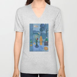 The Blue Window, Issy-les-Moulineaux, 1913 by Henri Matisse, Artwork Design, Poster Tshirt, Tee, Jer Unisex V-Neck