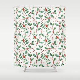 Festive Holly Pattern Shower Curtain
