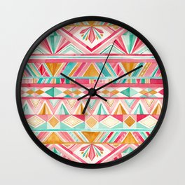 Spring Gems // Pink Gold and Turquoise Geometric Pattern Wall Clock