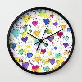 Colorful Heart Pattern Paint Splatters Wall Clock
