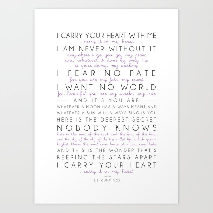 Downloadable print - I carry your heart Cummings Poem Printable wall art - Vintage Paper I carry it in my heart