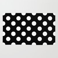polka dots Area & Throw Rugs featuring Polka Dots (White/Black) by 10813 Apparel