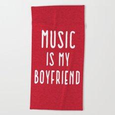 Music Is Boyfriend Quote Beach Towel