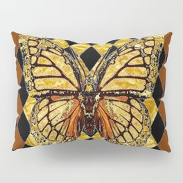 ABSTRACTED BROWN & GOLD MONARCH BUTTERFLY Pillow Sham