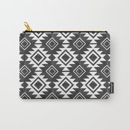 Aztec Pattern in Black & White Carry-All Pouch