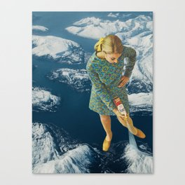 Spraying snow on the mountains Canvas Print