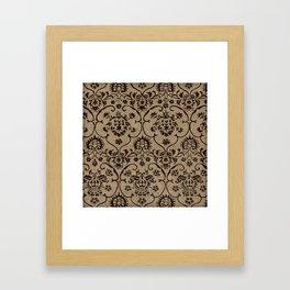 Vintage Damask Print Burlap Framed Art Print