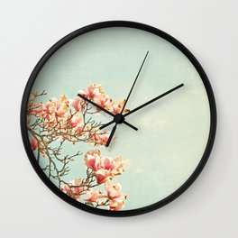 Pink Magnolia Flowers on Aqua Blue Green and French Script Wall Clock