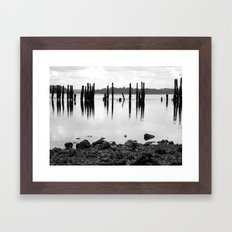 Waterfront Park in Black and White Framed Art Print