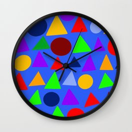 Circle and triangle variation on a design blue Wall Clock