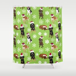 Santa hat coonhounds snowflakes green Shower Curtain