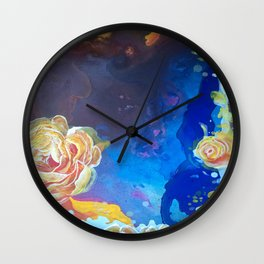Mad Lucy's Golden Roses. Yellow Roses and Galaxy Blue. Wall Clock