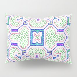 The Song to Support Spiritual Growth - Traditional Shipibo Art - Indigenous Ayahuasca Patterns Pillow Sham