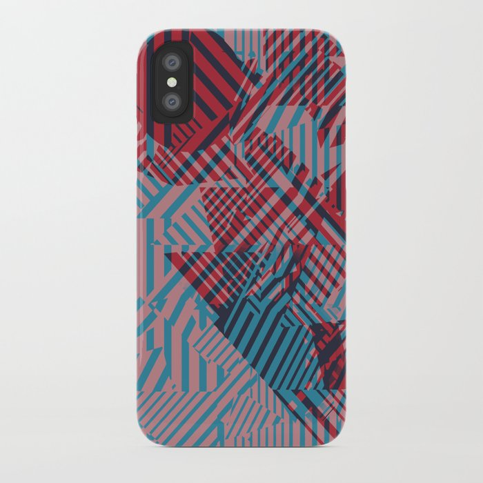 Dazzle Camo #02 - Blue & Red iPhone Case