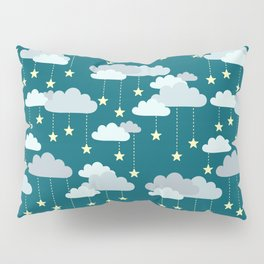 Clouds & Stars Night Sky Pattern Pillow Sham