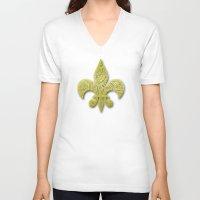 fleur de lis V-neck T-shirts featuring Gold Fleur De Lis by Riaora Creations