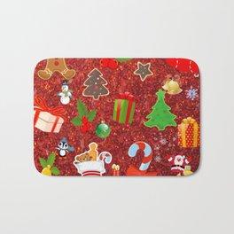 Cute Christmas Mix, red Bath Mat