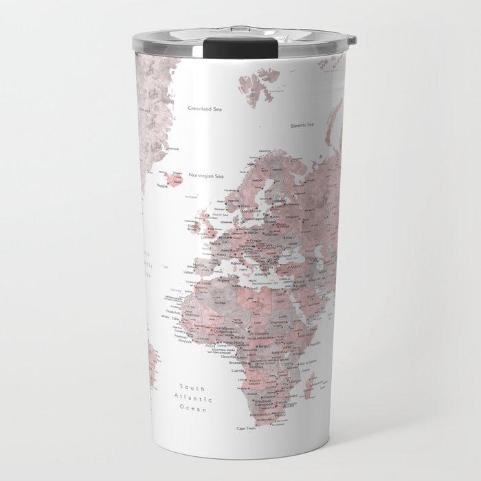 Dusty pink and grey detailed watercolor world map Travel Mug