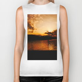 Foys Lake Montana at Sunset, Water Reflection, Neutral Colors Biker Tank
